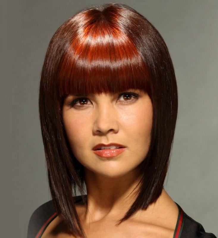 Прическа средние волосы с челкой