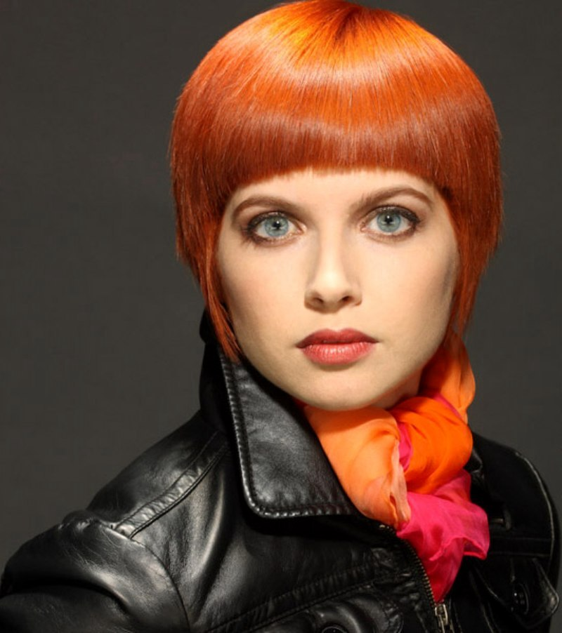 Short Orange Hair With Sleek Styling
