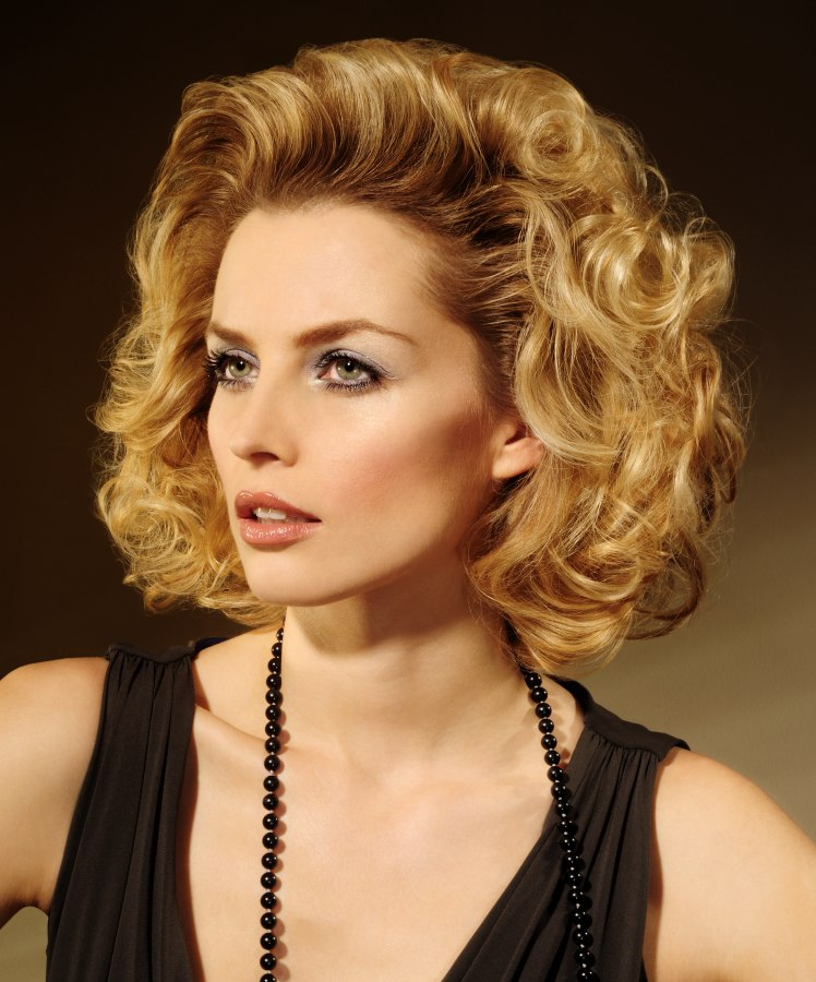 Medium Long Hairstyle With Large Soft Curls And A Lot Of