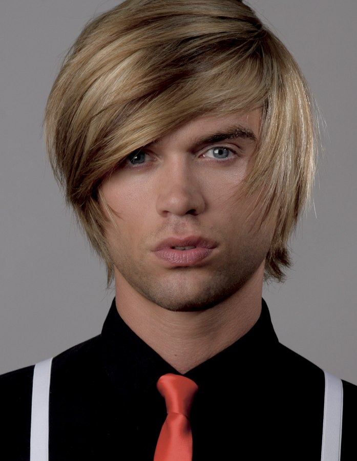 Shag Haircut In A Multi Tonal Blonde For Men