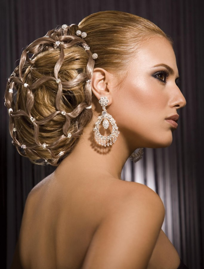 Striking And Elegant Hair Up Style For Women With Long Hair Jeweled Net