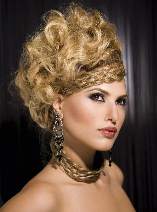 Up Styled Hair With High Volume Styling And Woven Elements