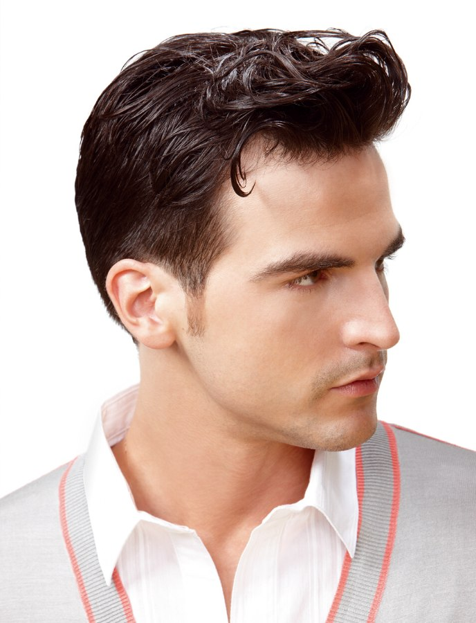 male haircut with slick styling side view