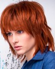 textured bob for red hair