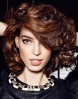 brunette bob with curls
