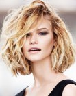 ruffled blonde bob