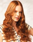long copper hair with curls