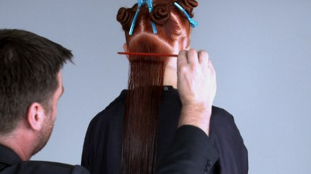 How to use comb and scissors to create the same tension throughout a ...