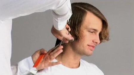 Men's haircut - Diagonal section in the fringe area from above the ...