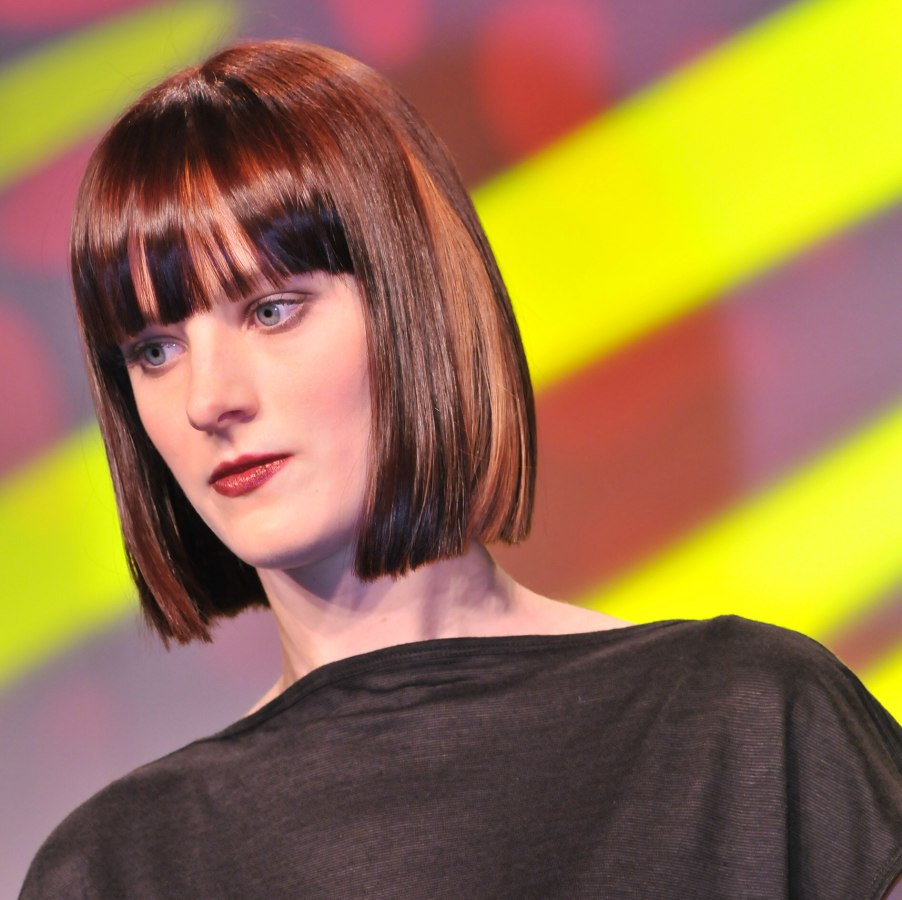 Blunt Bob With Long Bangs And Cut With Precision A Little Below The Chin