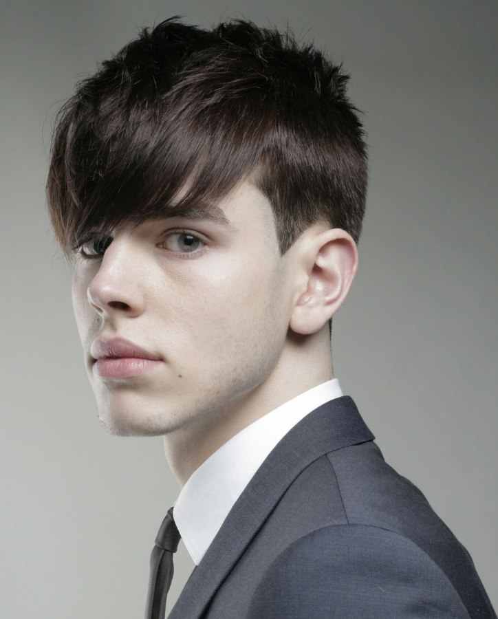 Classic Young Mens Hairstyle With Clean Lines And The Hair Cut