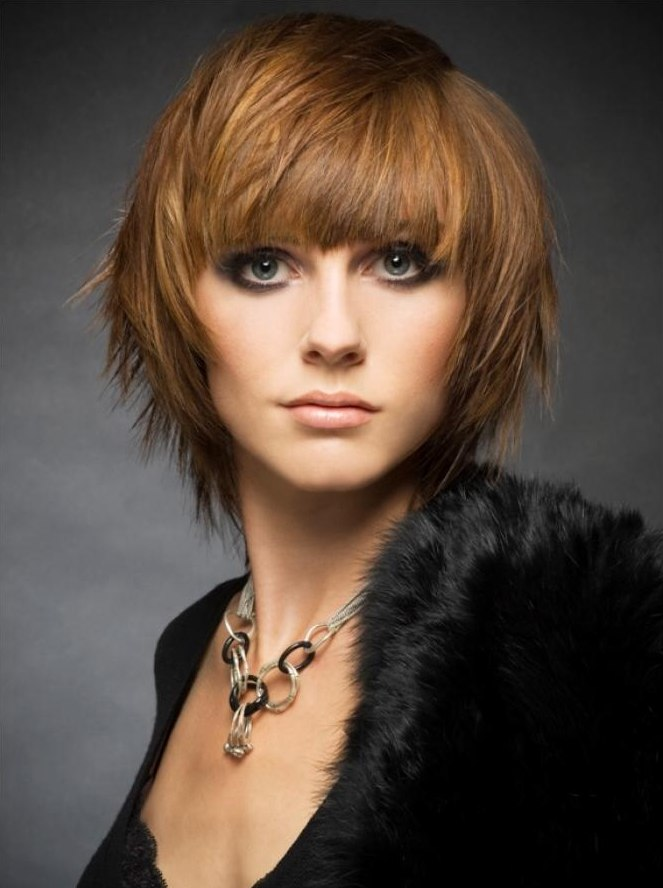 Mid Length Haircut With A Slimming Effect And With The