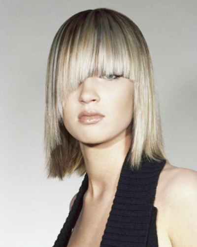 Long Bob With Mid Eye Level Bangs And Edges That Touch The
