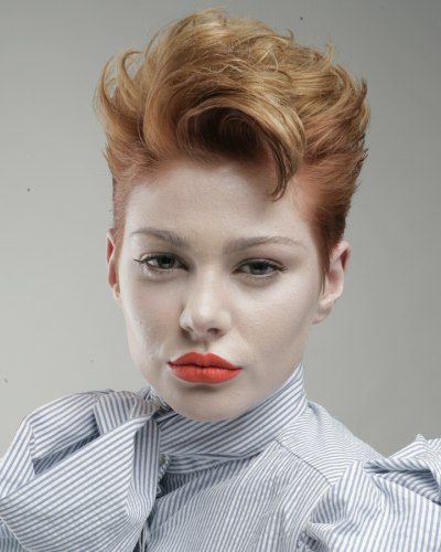 Short Hairstyle Lifted Upward And Tightened Up Around The