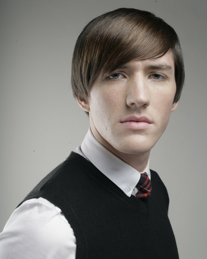 Men S Hairstyle With Hair Halfway Over The Ears For A