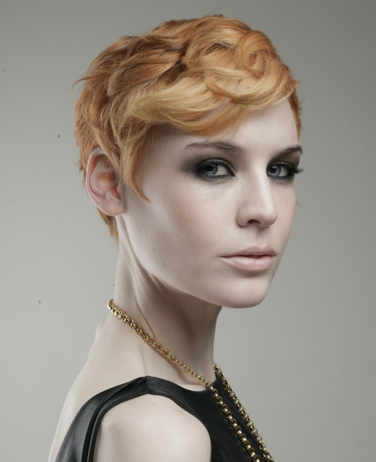 Short 1920s flapper girl haircut with a hair colour that ...