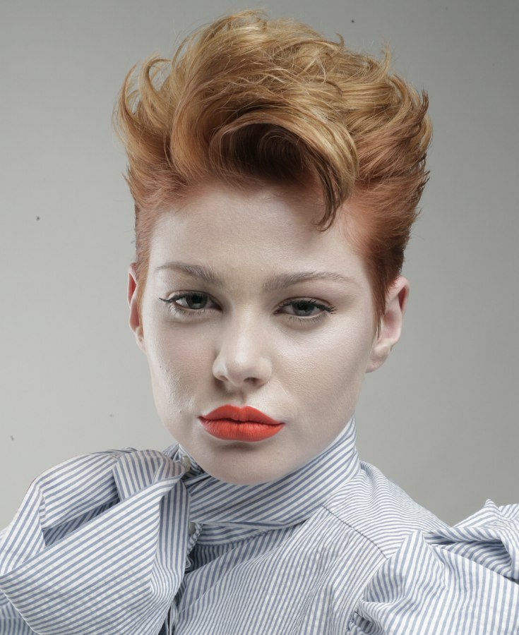 Short Hairstyle, Lifted Upward And Tightened Up Around The