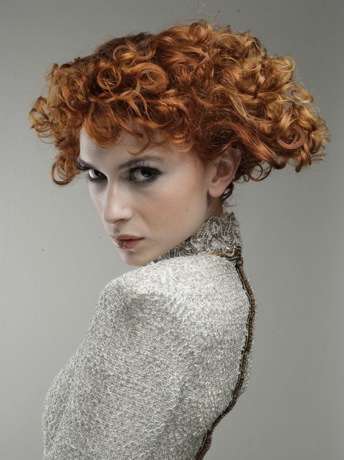 Copper And Peach Hair Colour For A Short Hairstyle With