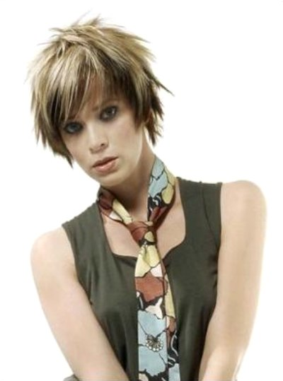 Short Spiky And Fuzzy Haircut With Heavy Highlights