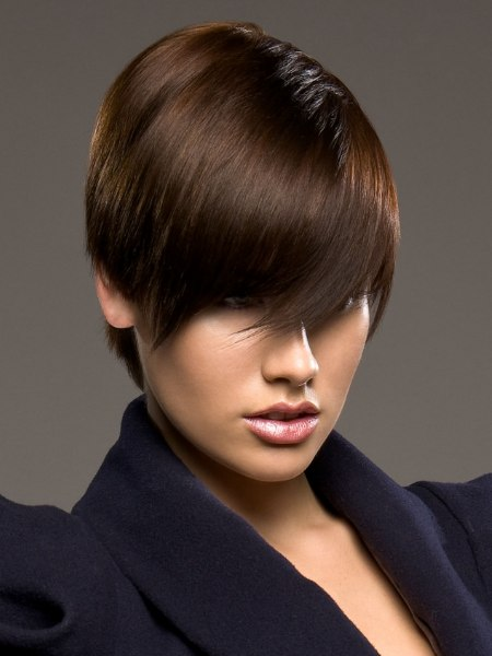 modern short haircut with bangs for chestnut brown hair