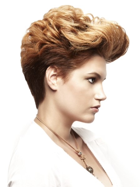 short haircut with a graduated neck and the hair flipped upward