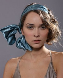 hair with a wrapped silk scarf