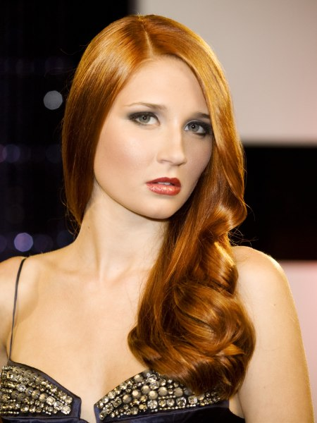 long red hair with large spiraled curls