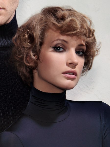 short haircut and tight smooth turtleneck