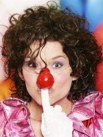 clown look with curls