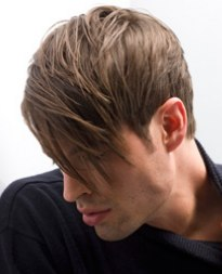 male hairstyle with long bangs