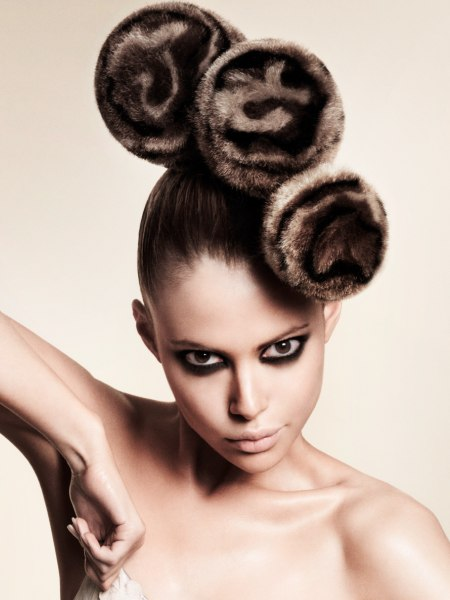 updo with fur