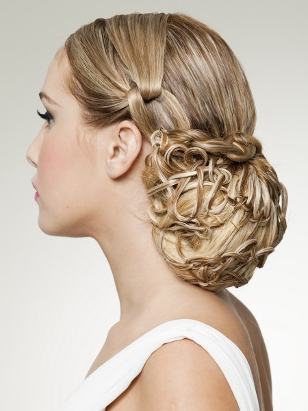 classic snood inspired updo with basket woven hair
