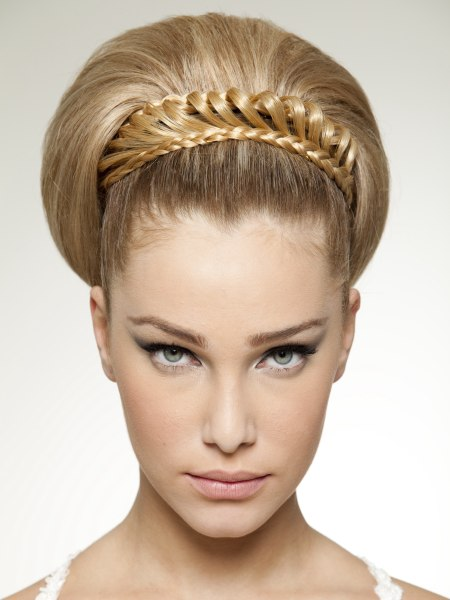 Elizabethan Age updo with smoothed-back hair