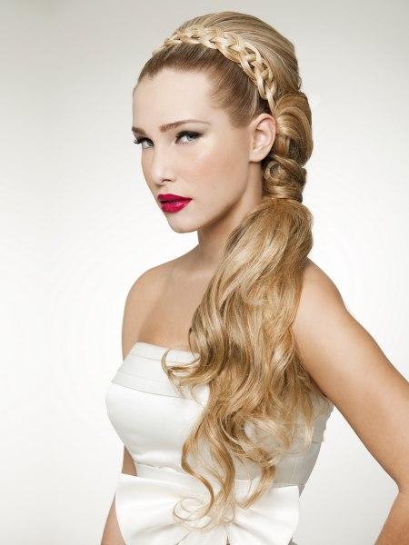 over the shoulder semi-updo with a filigree circlet