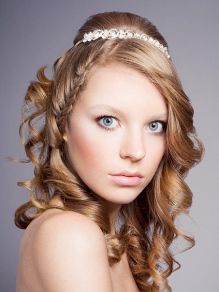 Curly bridal hair with a tiara