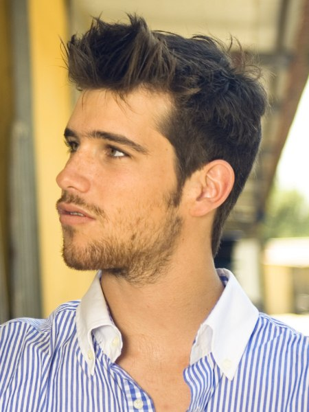 stylish male hairdo with longer hair on top