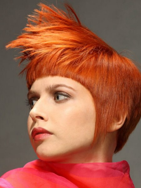 Orange hair styled with spikes