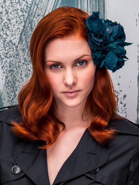 red hair and a hair flower
