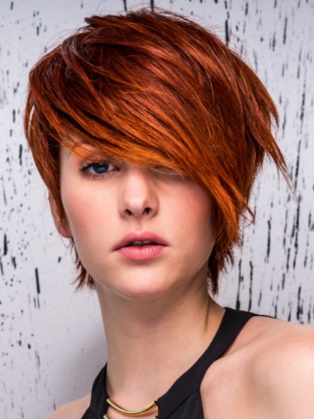 short red hair with a side fringe