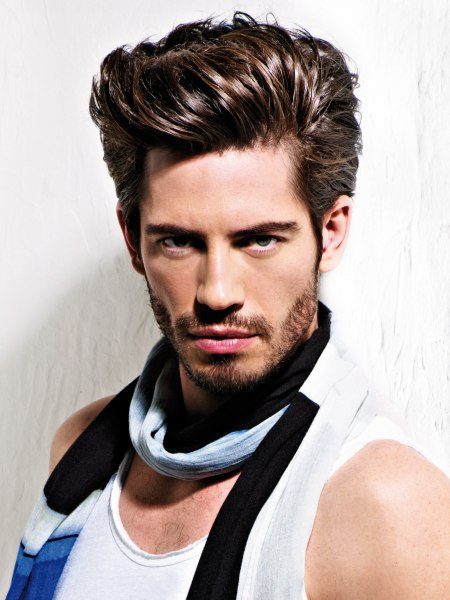 men's hair styled with volume