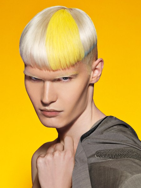 blonde mens hair with color accents