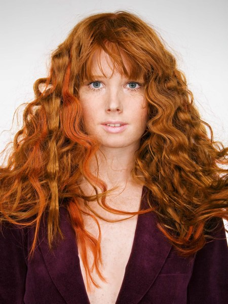 long red hair with waves and bangs