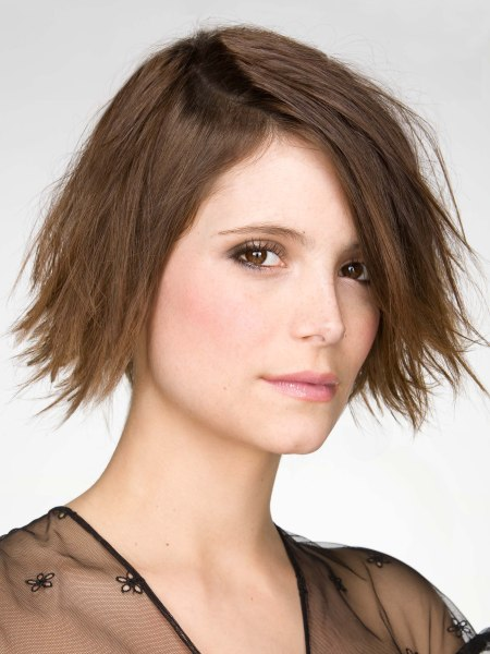 brown bob hairstyle with outward bending ends