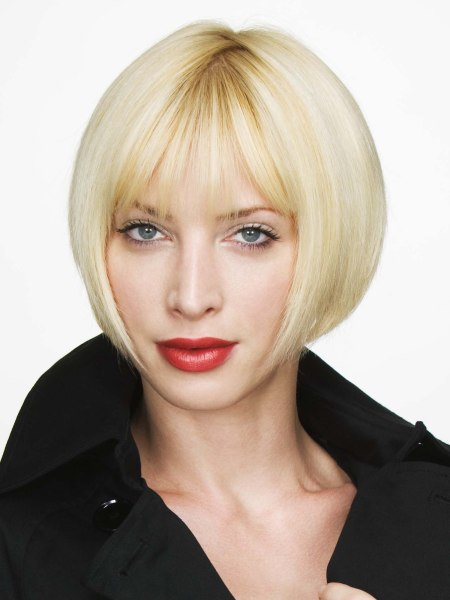 angled blonde bob that tickles the chin line
