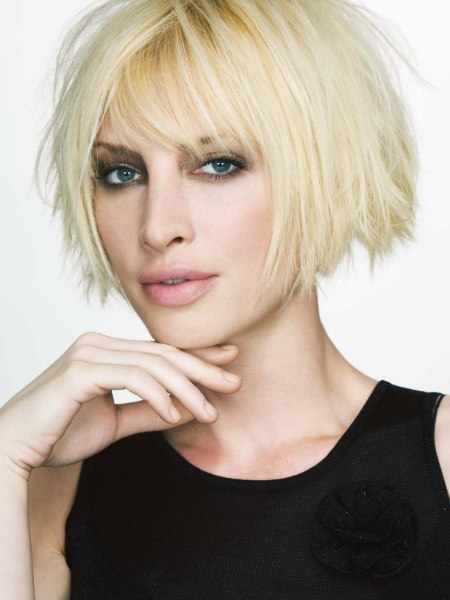 blonde bob with texture and wild volume