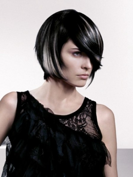 black hair with silver streaks