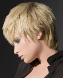 short hairstyle with long strands