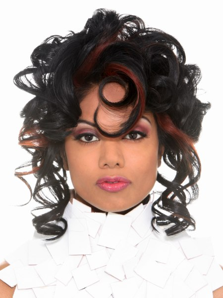 hairstyle with corkscrew curls