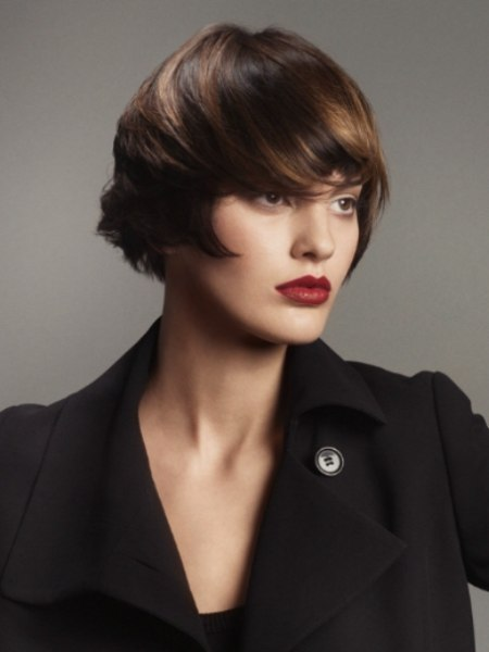 short brown bob with styling towards the face