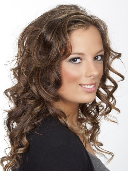 Long brown hair with corkscrew curls